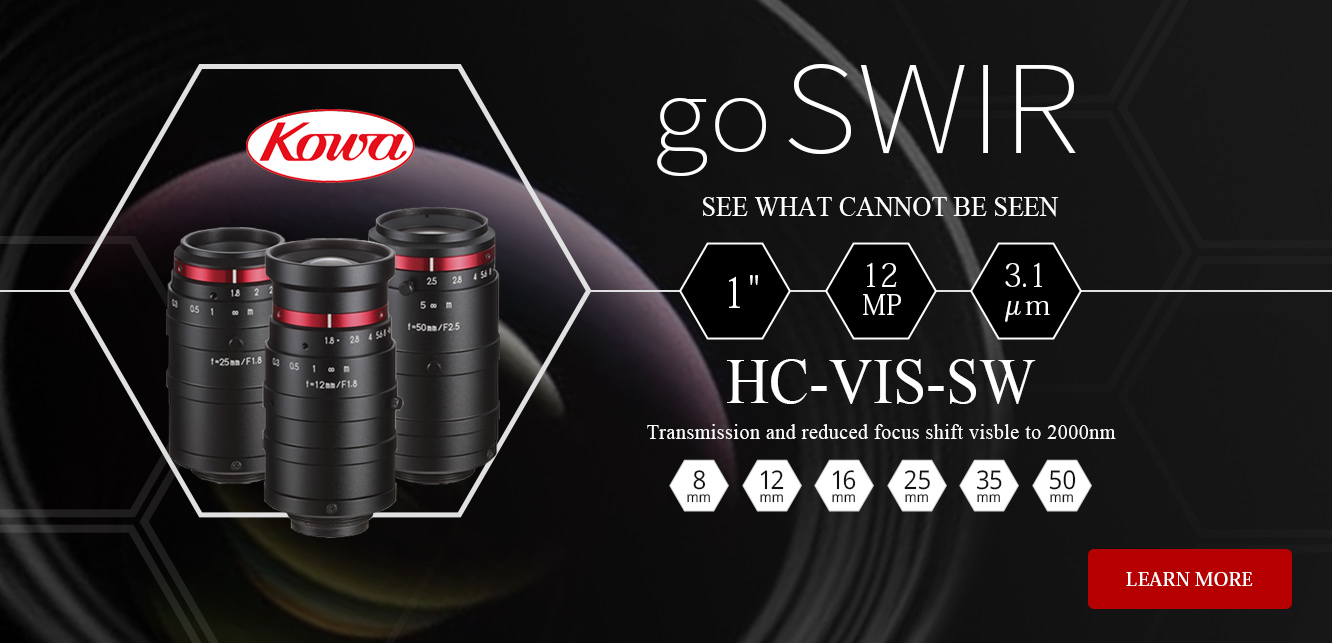 "go SWIR, See what cannot be seen, 1"", 12MP, 3.1 um, HC_VIS-SW, Transmission and reduced focus shift from visible to 2000nm, 8mm, 12mm, 16mm, 25mm, 35mm, 50mm, Learn More"